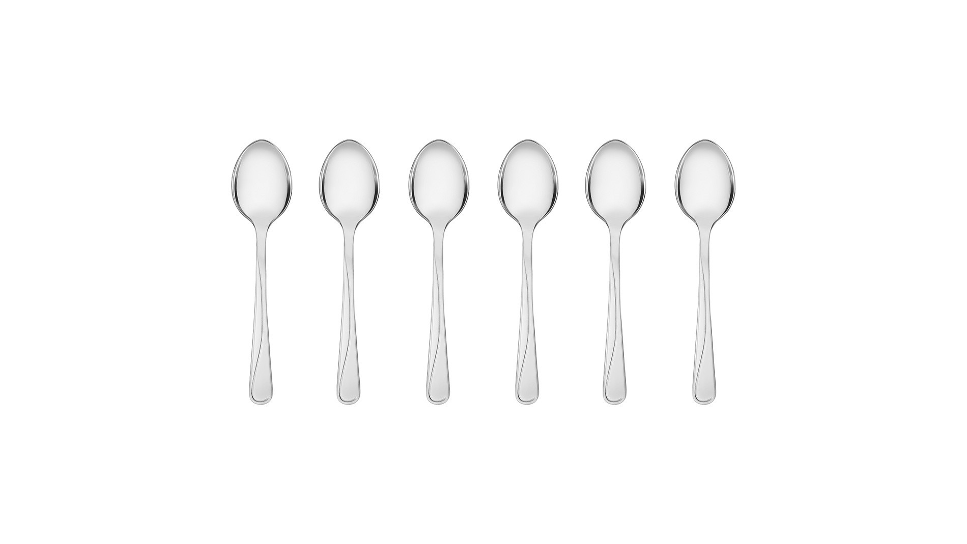 Tea spoons, 6 pcs – gloss MANGO