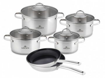 An 8-element set of pots – VIVA + 2 x Frying pan  SOLID 24/28 cm