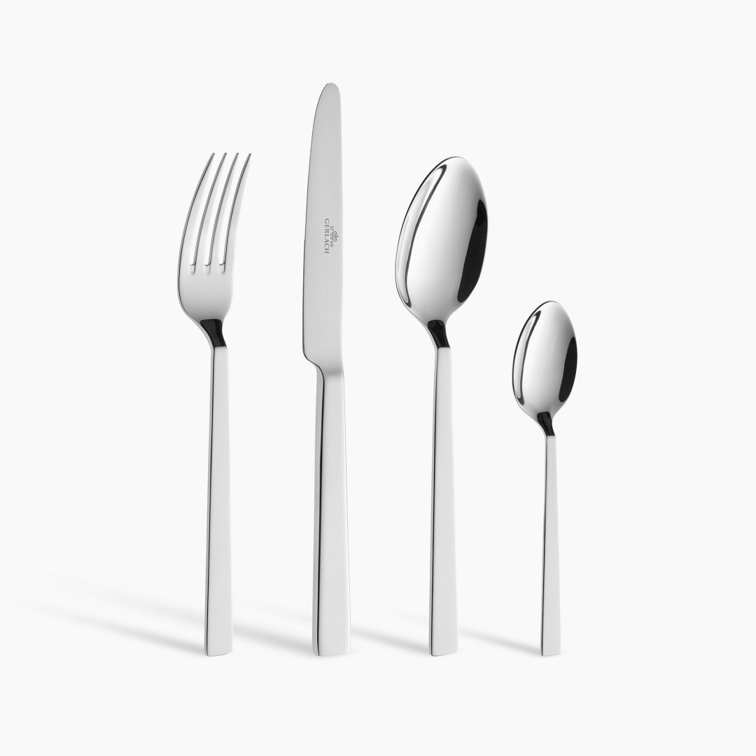 A 6-element set of pots PRIME + A set of DECO BLACK knives + Cutlery Set, 24 pcs FOSS + 2 x Frying pan NATUR 24/28 cm