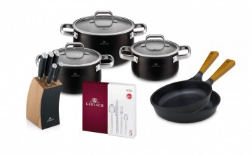 A 6-element set of pots PRIME + A set of DECO BLACK knives + Cutlery Set, 24 pcs FOSS + 2 x Frying p...