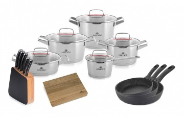 A 10-element set of pots – SUPERIOR + A set of LOFT knives + 3 x Frying pan - GRANITEX 20/24/28 cm +...
