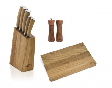 A set of knives + An oaken cutting board + Wooden salt shaker and pepper grinder - NATUR