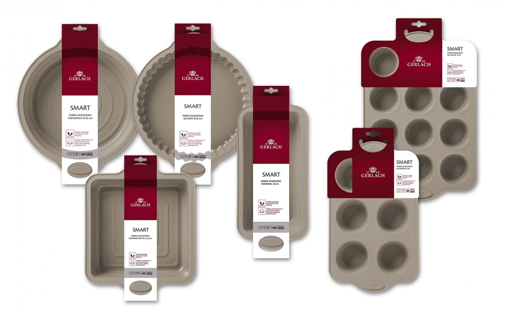 A 6-elements set of silicone baking forms