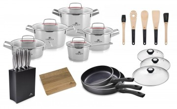 A 10-element set of pots – SUPERIOR + A set of MODERN knives + 3x Frying pan - CONTRAST PROCOAT 20/2...