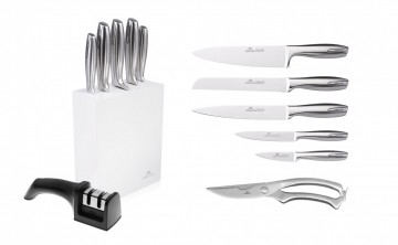 A set of MODERN knives + knife sharpener + poultry shears