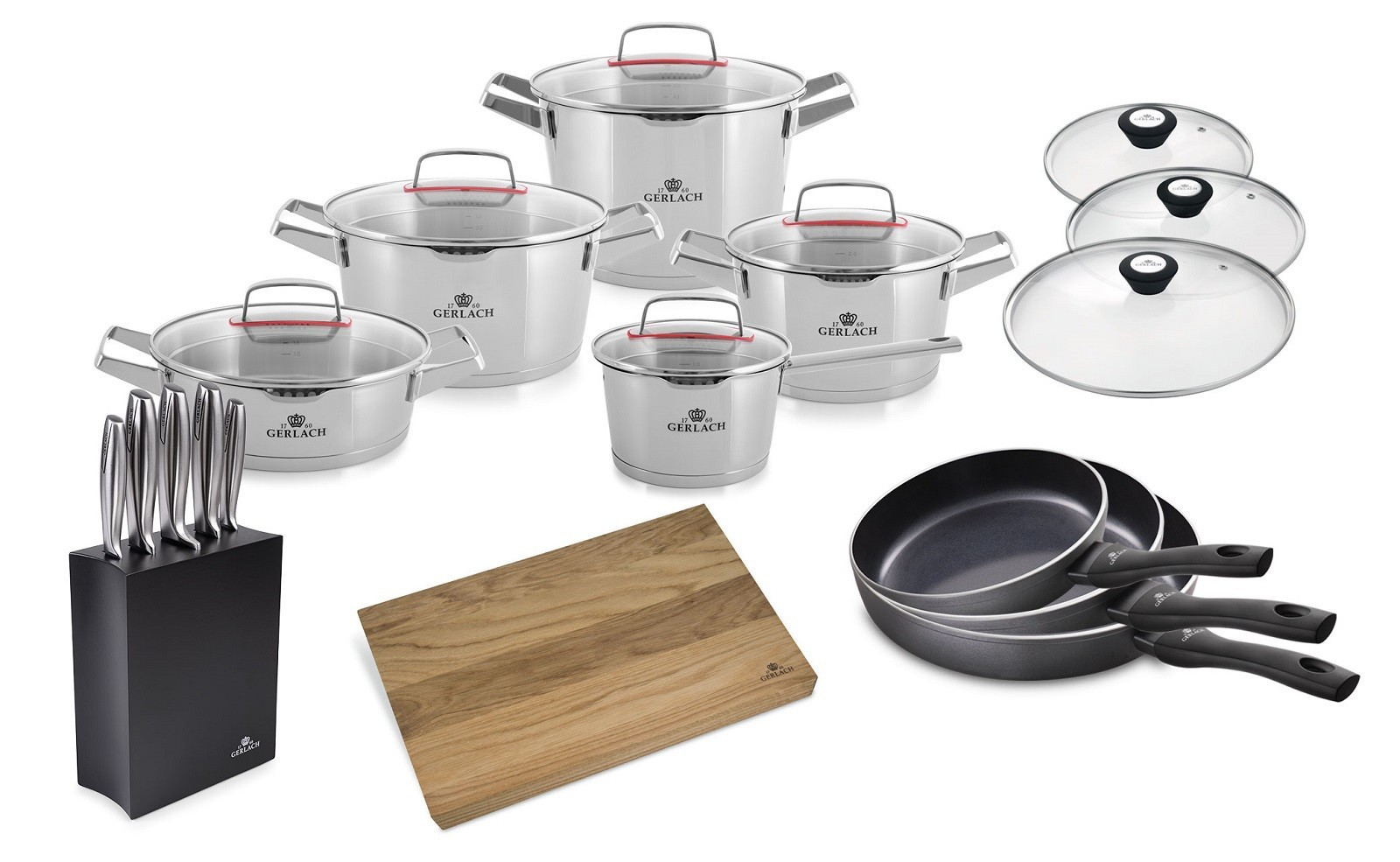 A 10-element set of pots SUPERIOR + set of knives + 3x Frying pan with lids