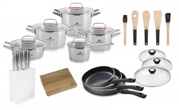 A 10-element set of pots SUPERIOR + set of knives + 3x Frying pan with lids +  kitchen accessories